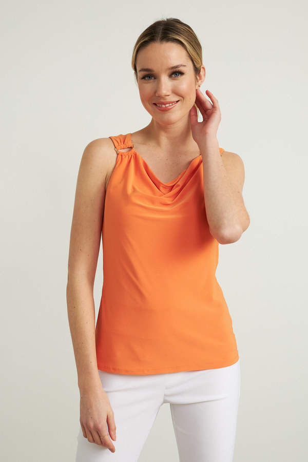 Joseph Ribkoff Ring Accent Sleeveless Top Style 212166. Tangerine