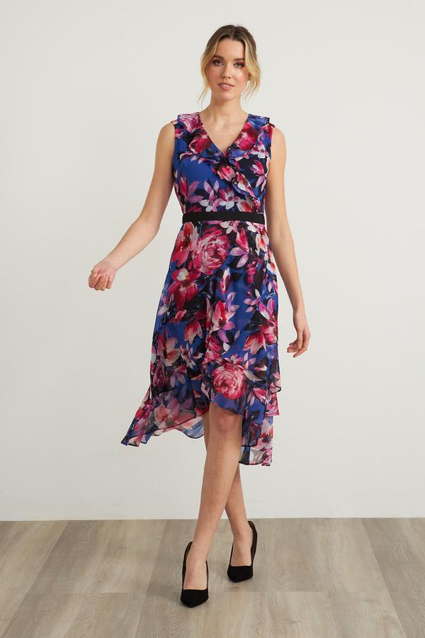 Joseph Ribkoff Floral V-Neck Dress Style 212169. Multi