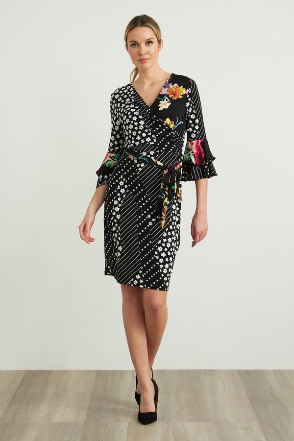 Joseph Ribkoff Floral Print Bell Sleeve Dress Style 212190. Black/White