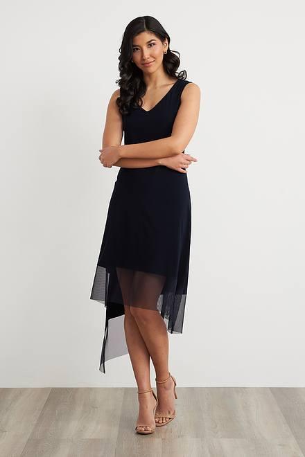 Joseph Ribkoff Sheer Asymmetric Hem Dress Style 212195