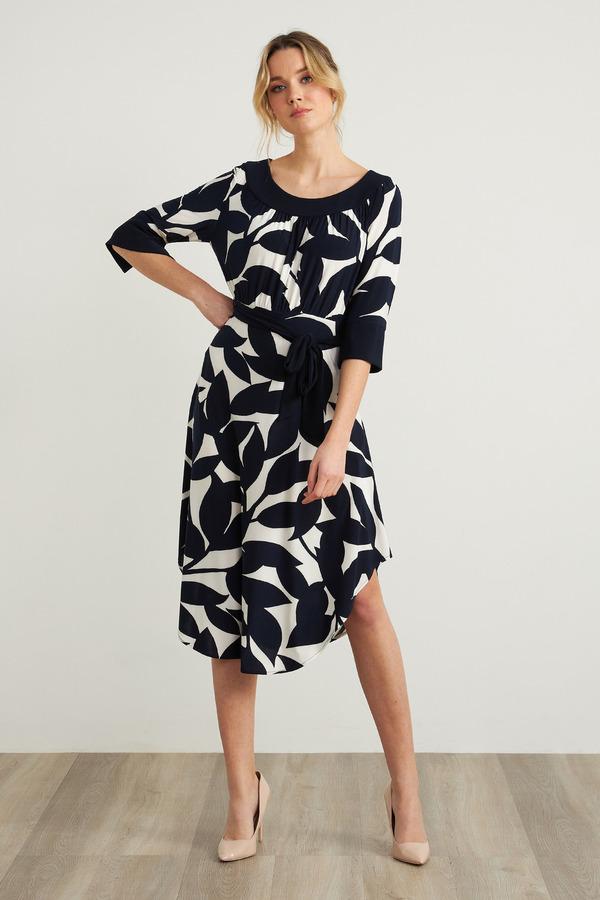 Joseph Ribkoff 3/4 Sleeve Dress Style 212201. Navy/Offwhite