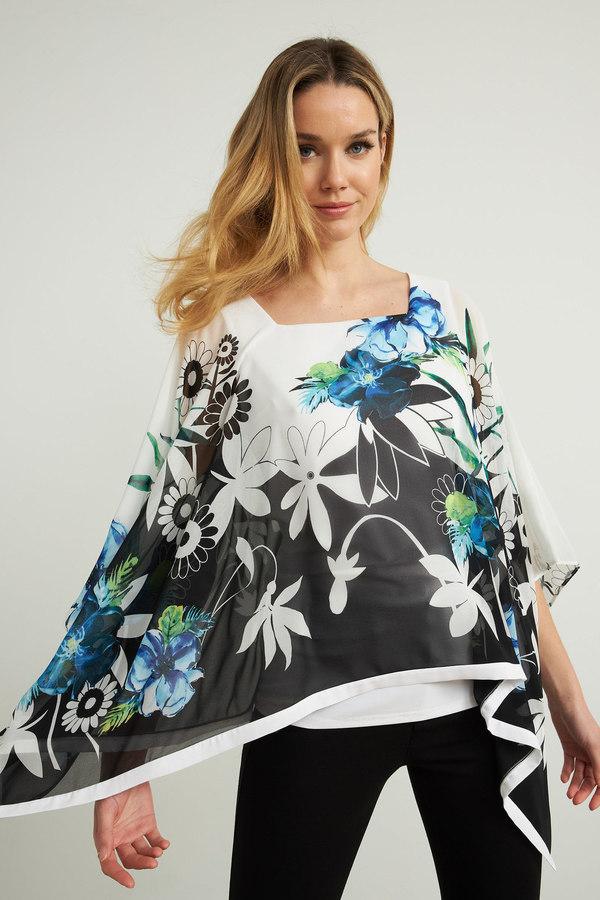 Joseph Ribkoff Asymmetric Hem Tunic Style 212208. Vanilla/Multi