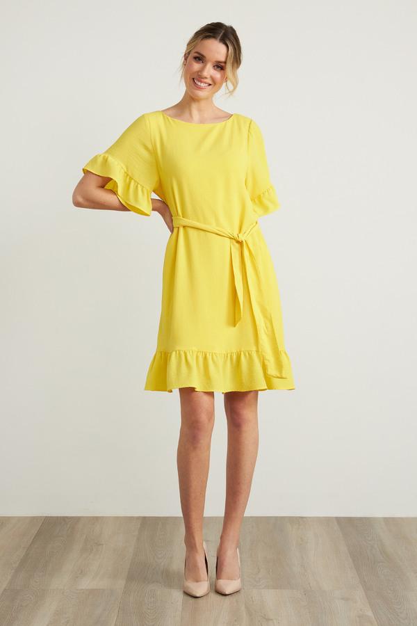 Joseph Ribkoff Ruffle Sleeve Dress Style 212217. Lemon zest