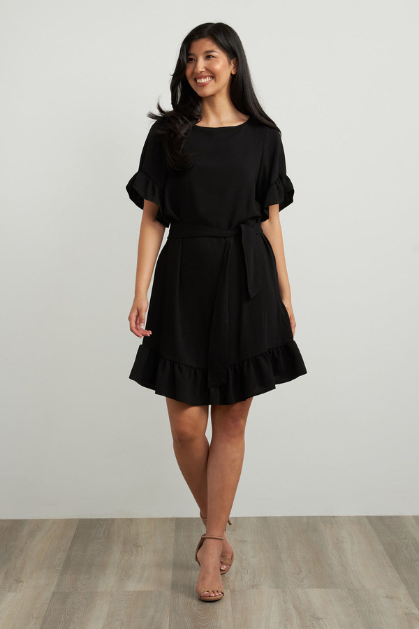 Joseph Ribkoff Ruffle Sleeve Dress Style 212217. Black