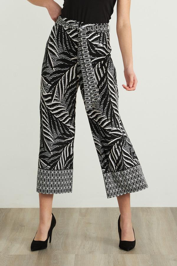 Joseph Ribkoff Tropical Wide Leg Pant Style 212233. Black/Vanilla