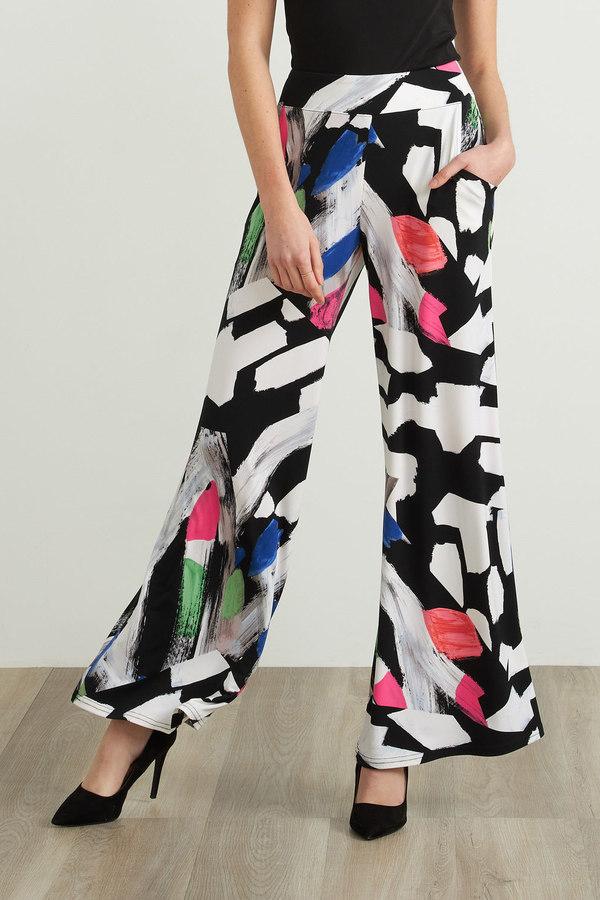 Joseph Ribkoff Graphic Print Pants Style 212246. Black/White/Multi