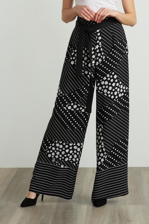 Joseph Ribkoff Printed Pant Style 212248. Black/White