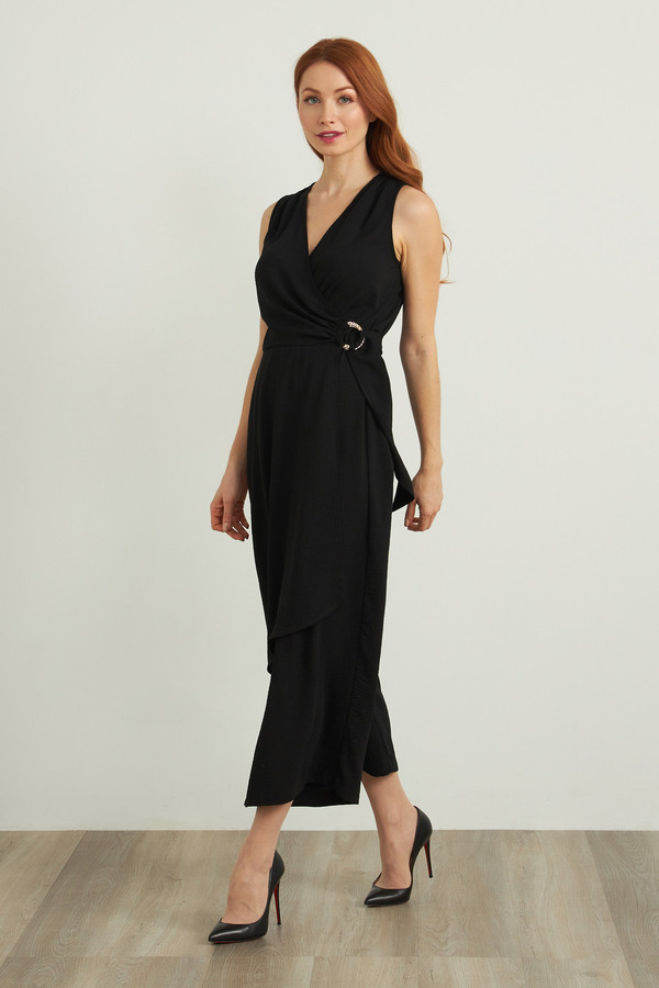 Joseph Ribkoff Ring Accent Jumpsuit Style 212264. Black
