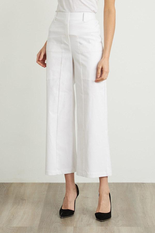 Joseph Ribkoff Wide Leg Cropped Pants Style 212286. White
