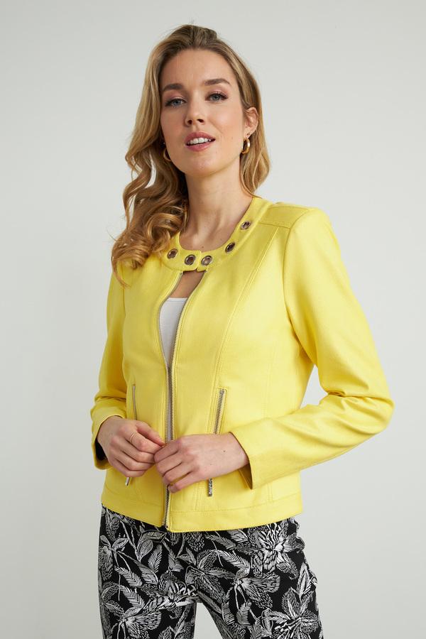 Joseph Ribkoff Ring Accent Moto Jacket Style 212901. Lemon zest