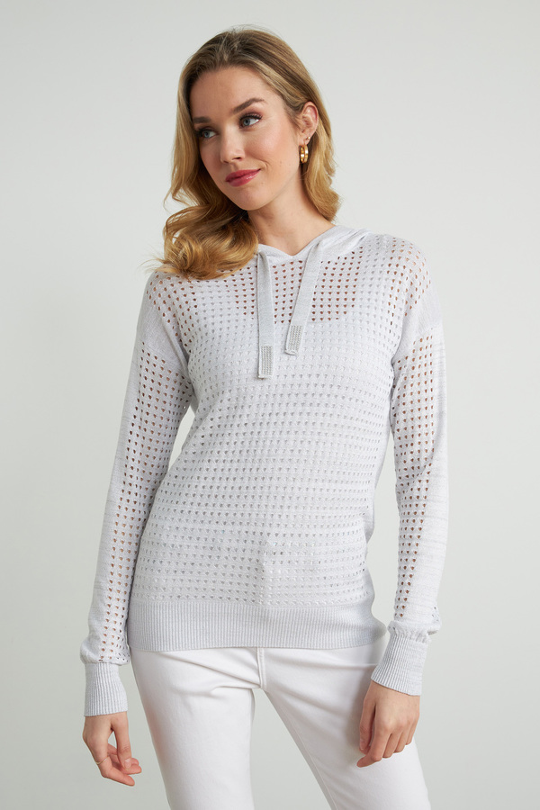 Joseph Ribkoff Perforated Sweater Style 212906. Silver