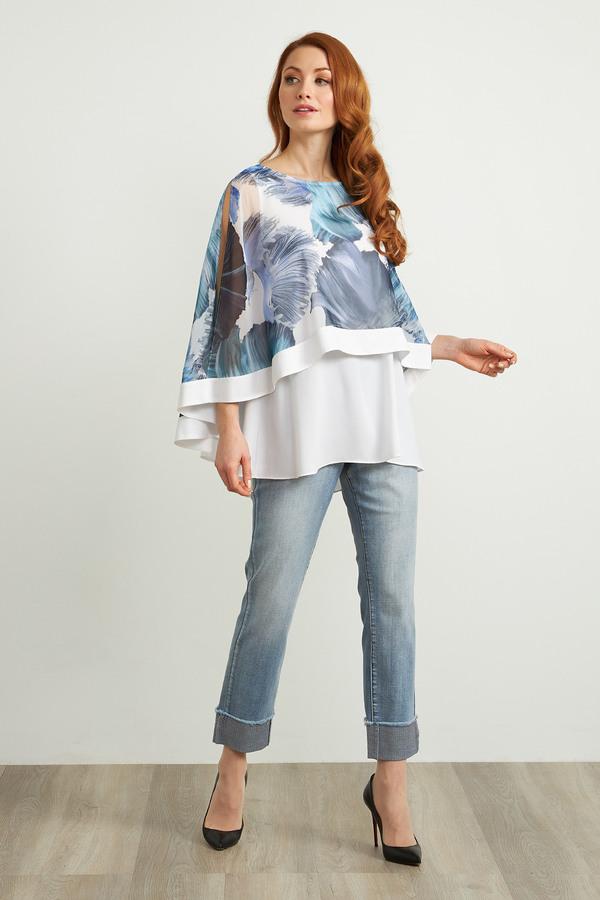 Joseph Ribkoff Sparkle Cuff Jeans Style 212915. LIGHT DENIM BLUE