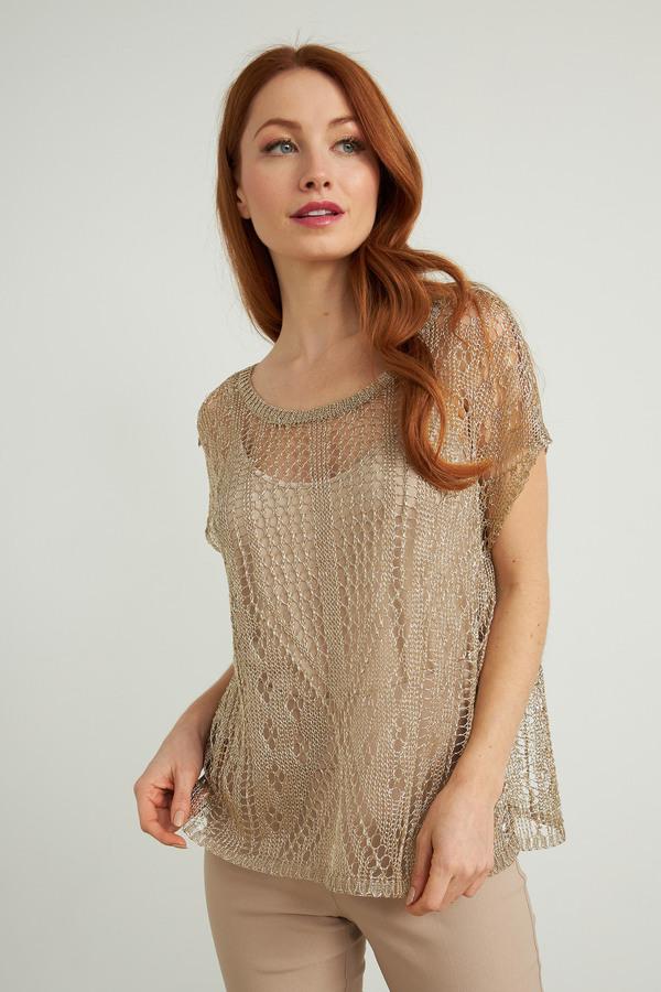 Joseph Ribkoff Short-Sleeve Knit Top Style 212929. Sand