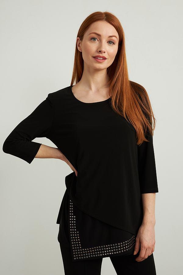 Joseph Ribkoff Asymmetrical Hem Top Style 213003. Black