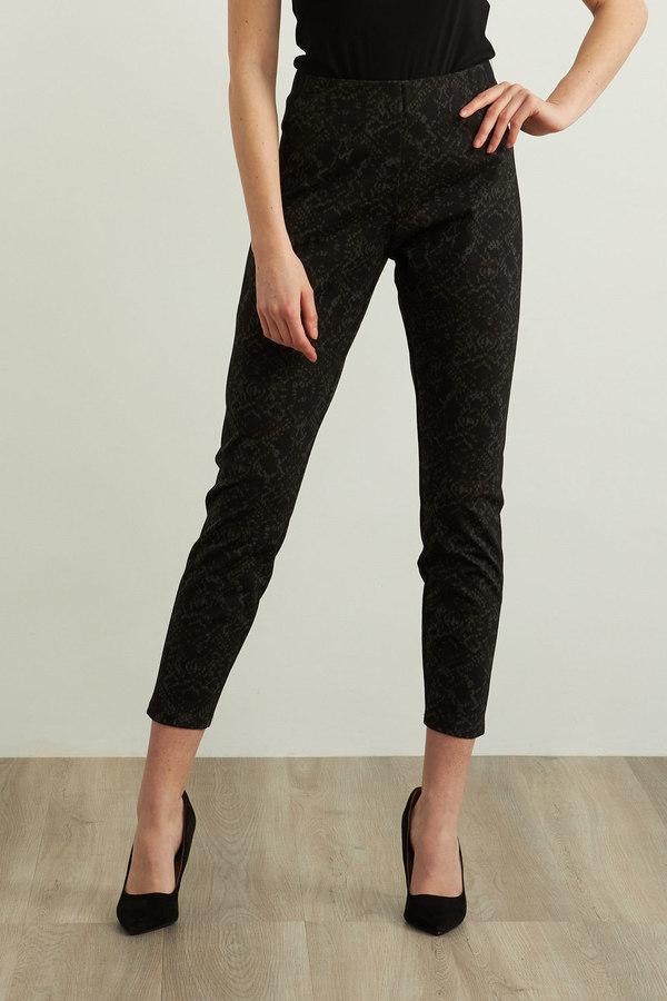 Joseph Ribkoff Solid Stripe Pants Style 213053. Black/Brown/Grey