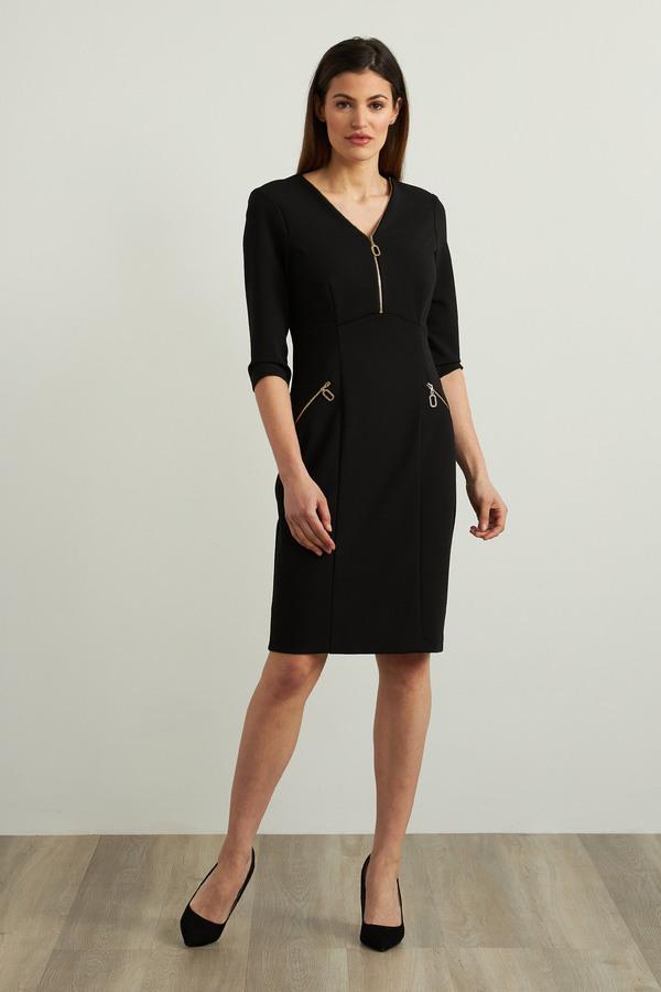Joseph Ribkoff Zip Detail Sheath Dress Style 213100. Black