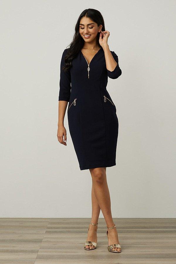 Joseph Ribkoff Zip Detail Sheath Dress Style 213100. Midnight Blue