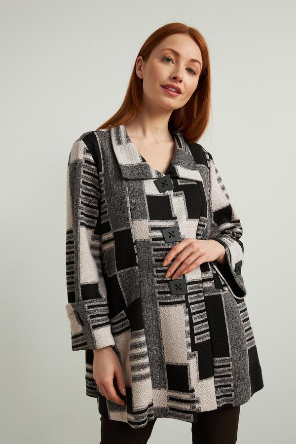 Joseph Ribkoff Geometric Jacquard Jacket Style 213101. Black/Ecru