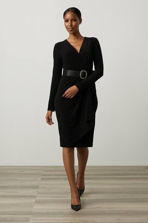 Joseph Ribkoff Wrap Dress Style 213103. Black
