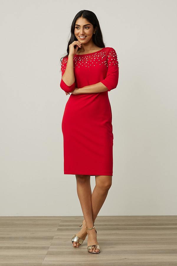 Joseph Ribkoff Mesh Insert Dress Style 213105. Lipstick Red 173