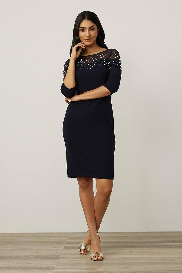 Joseph Ribkoff Mesh Insert Dress Style 213105. Midnight Blue