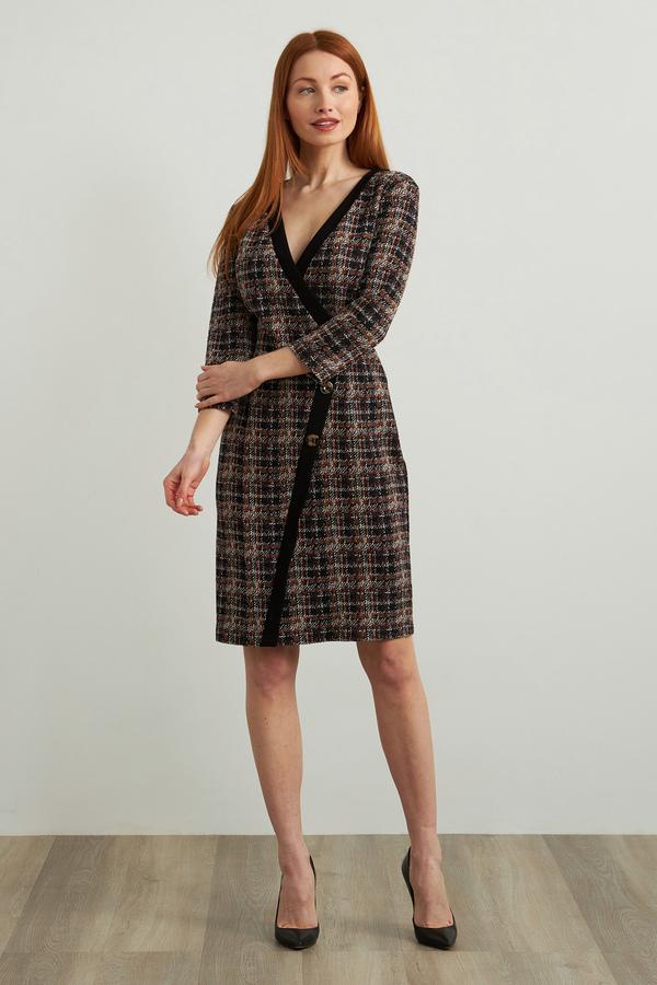 Joseph Ribkoff Wrap Front Plaid Dress Style 213124. Black/Multi
