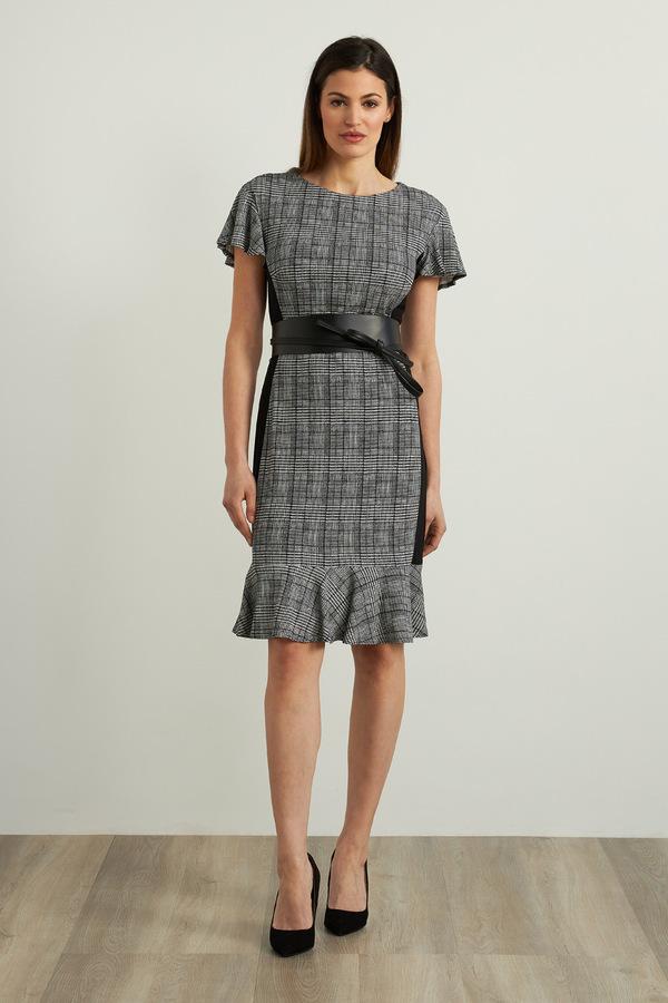 Joseph Ribkoff Checkered Print Dress Style 213125. Black/White