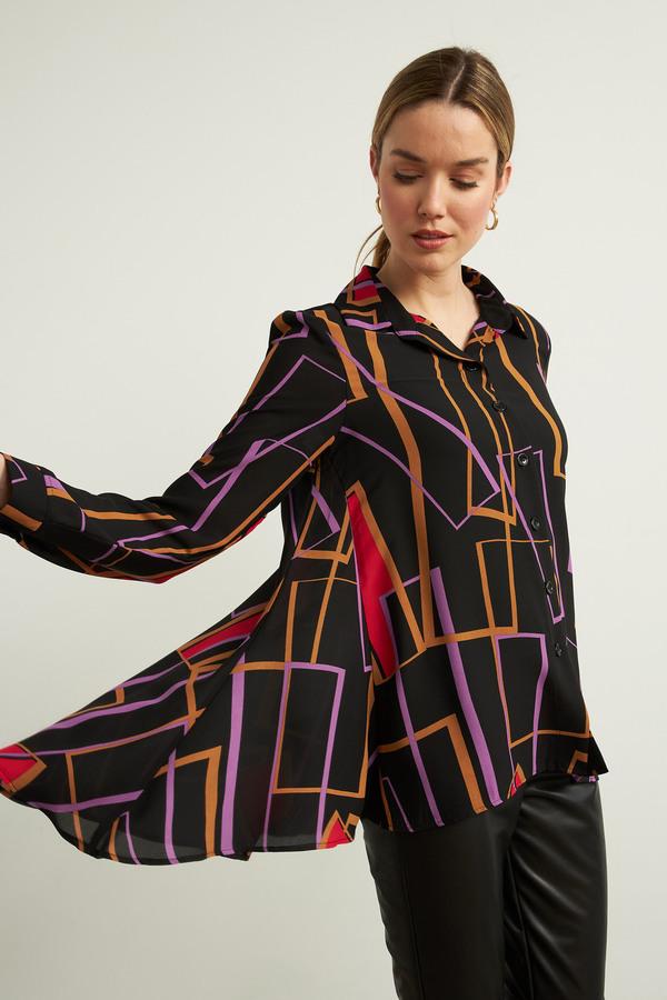 Joseph Ribkoff Geometric Print Blouse Style 213268. Black/Multi