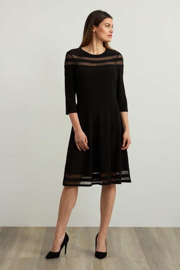 Joseph Ribkoff Mesh Insert Dress Style 213289. Black