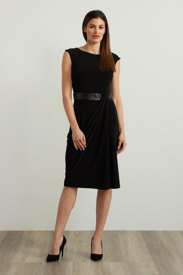 Joseph Ribkoff Faux Leather Accent Dress Style 213292. Black