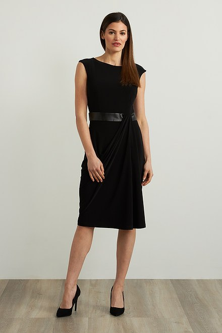 Joseph Ribkoff Faux Leather Accent Dress Style 213292