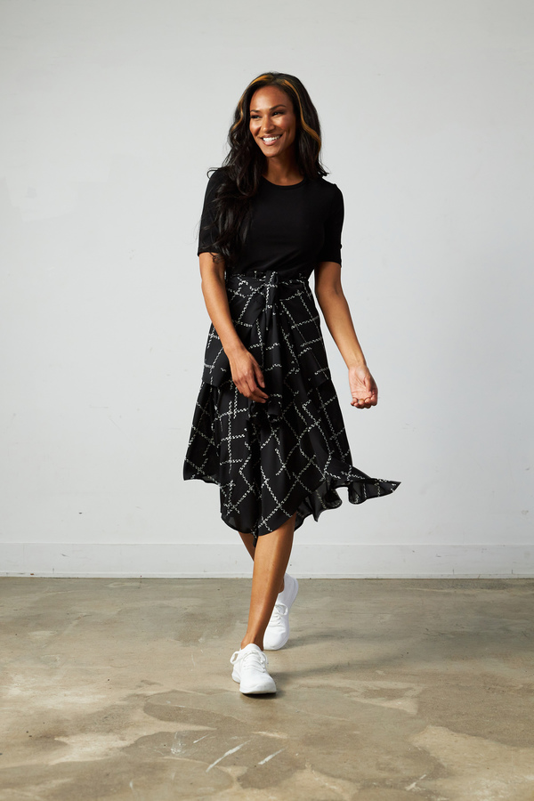 Joseph Ribkoff Asymmetric Hem Dress Style 213308. Black/Vanilla
