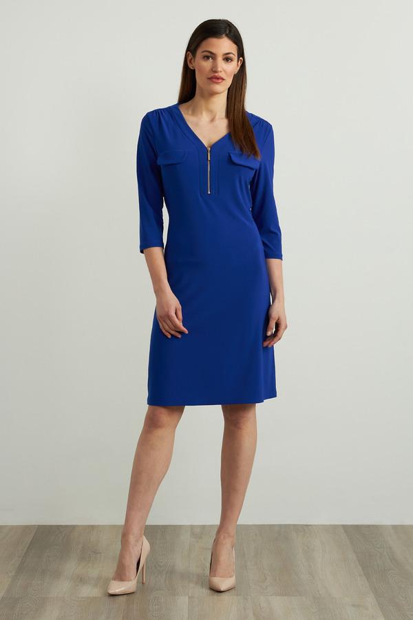 Joseph Ribkoff Zip Accent Dress Style 213326. Royal Sapphire 163
