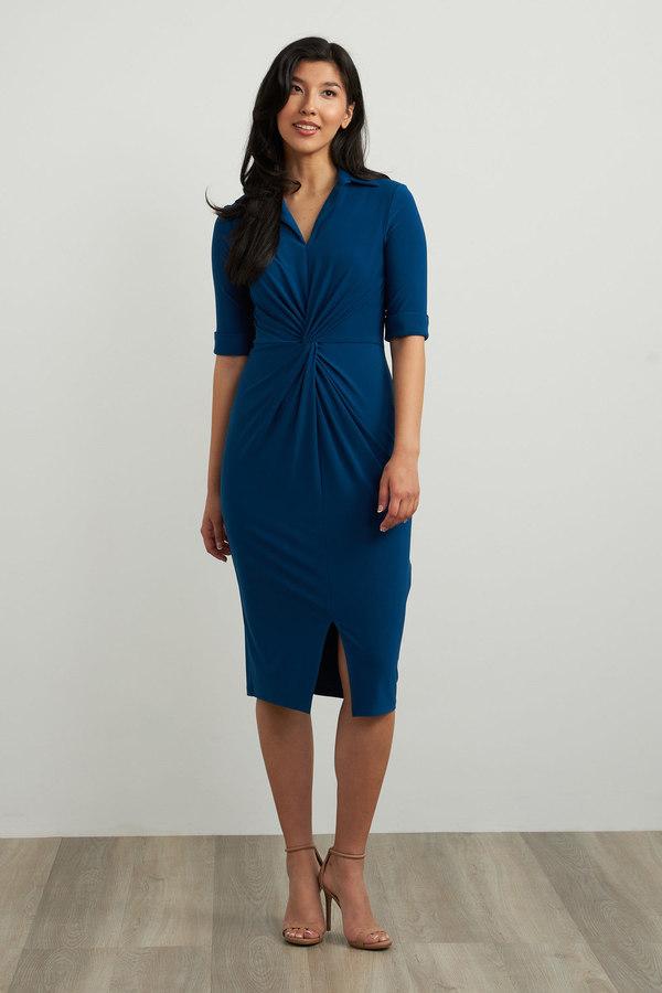 Joseph Ribkoff Wrap Front Sheath Dress Style 213327. Aquarius
