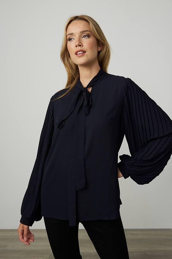 Joseph Ribkoff Neck-Tie Georgette Blouse Style 213332. Midnight Blue