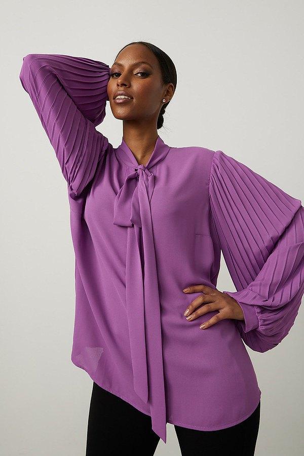 Joseph Ribkoff Neck-Tie Georgette Blouse Style 213332. Hydrangea