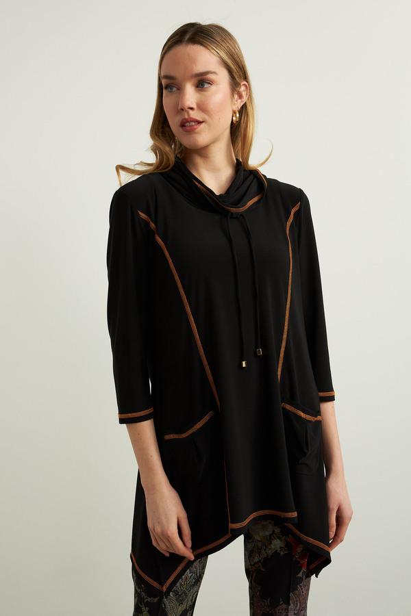 Joseph Ribkoff Handkerchief Hem Top Style 213333. Black