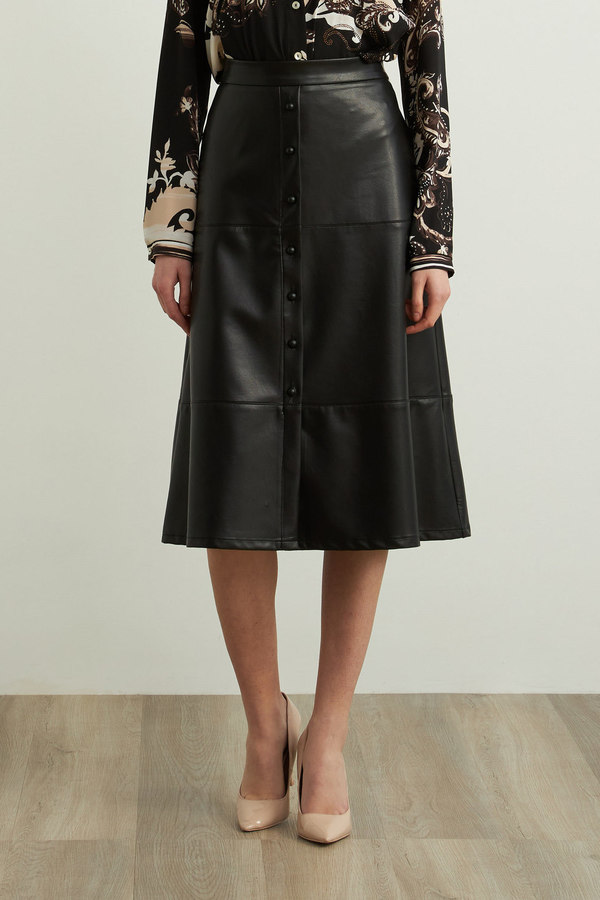 Joseph Ribkoff Faux Leather A-Line Skirt Style 213337