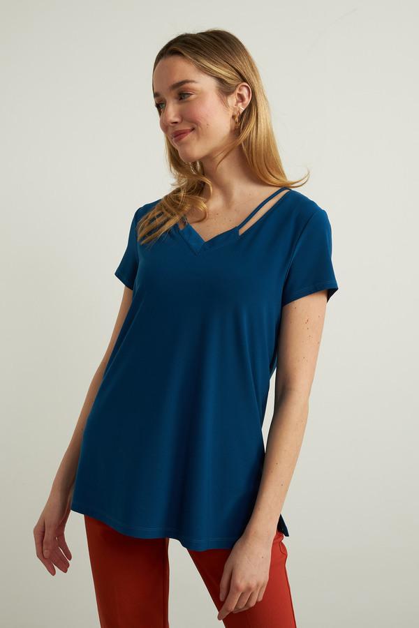 Joseph Ribkoff V-Neck Tee Shirt Style 213338. Aquarius