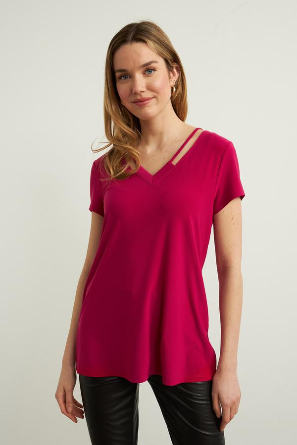 Joseph Ribkoff V-Neck Tee Shirt Style 213338. Dahlia