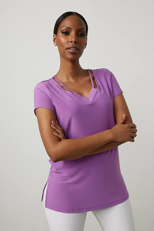 Joseph Ribkoff V-Neck Tee Shirt Style 213338. Hydrangea