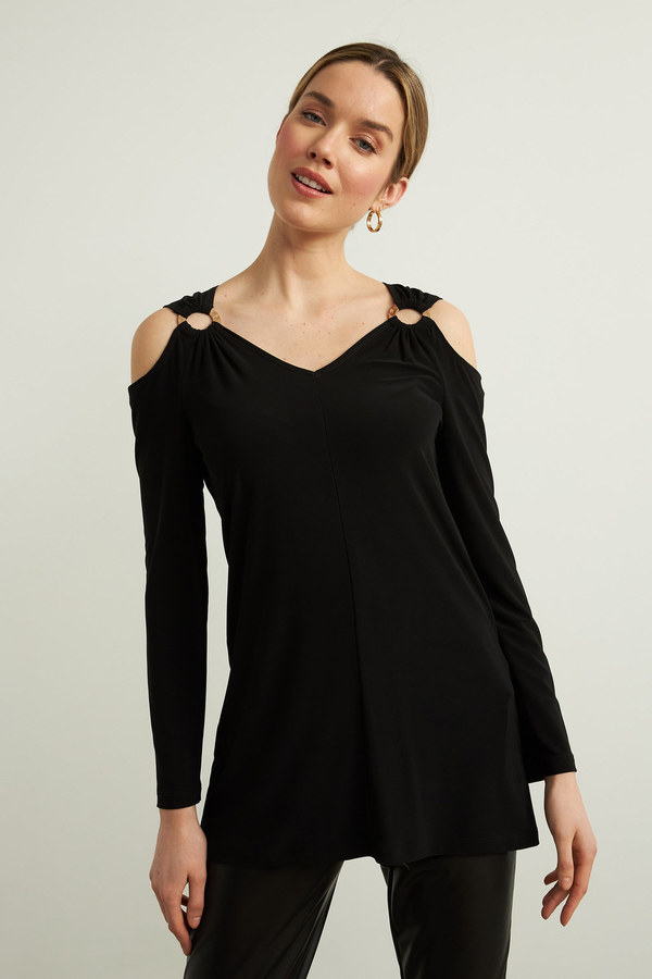 Joseph Ribkoff Draped Top Style 213342. Black