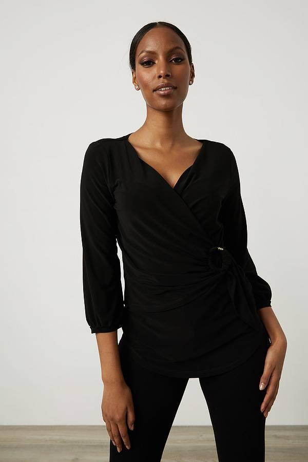 Joseph Ribkoff Wrap Top Style 213349. Black
