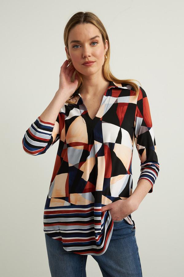 Joseph Ribkoff Geometric & Stripe Print Top Style 213353