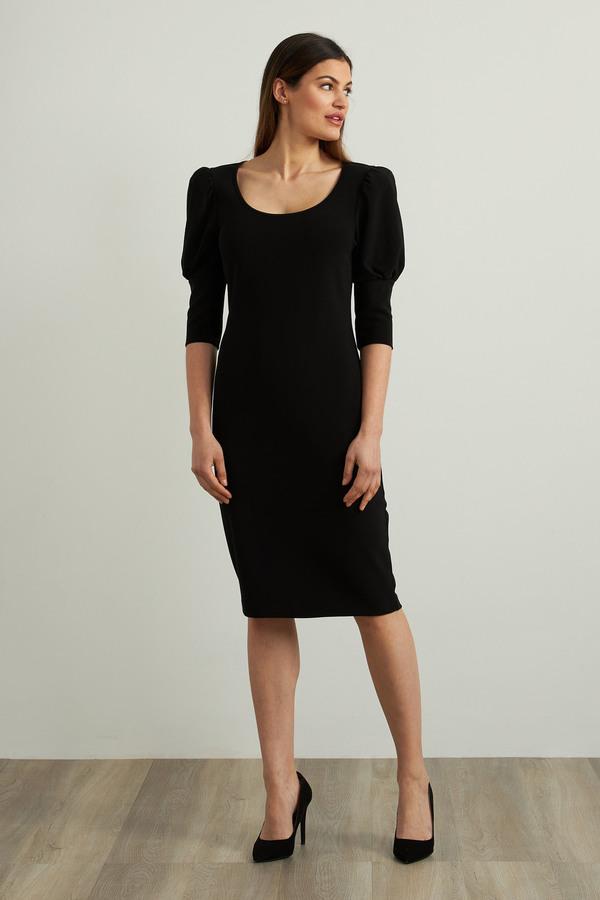 Joseph Ribkoff Puff Sleeve Dress Style 213355. Black