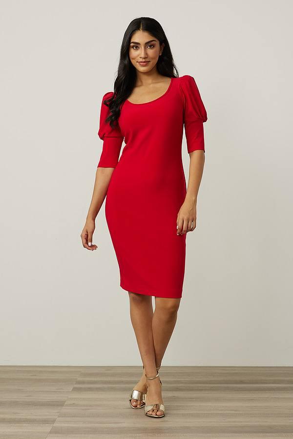 Joseph Ribkoff Puff Sleeve Dress Style 213355. Lipstick Red 173