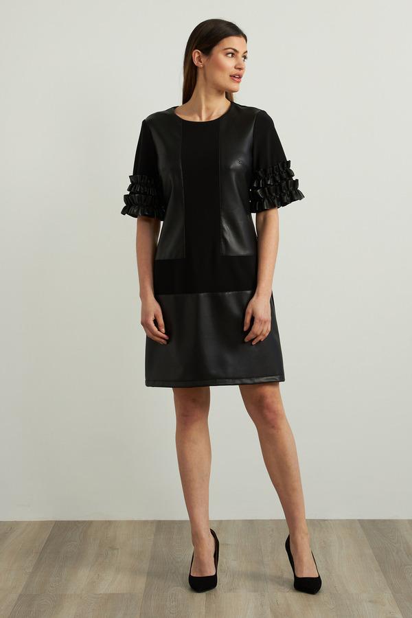 Joseph Ribkoff Faux Leather Accent Dress Style 213359. Black