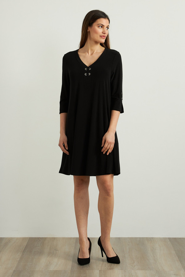 Joseph Ribkoff Fit & Flare Dress Style 213361. Black