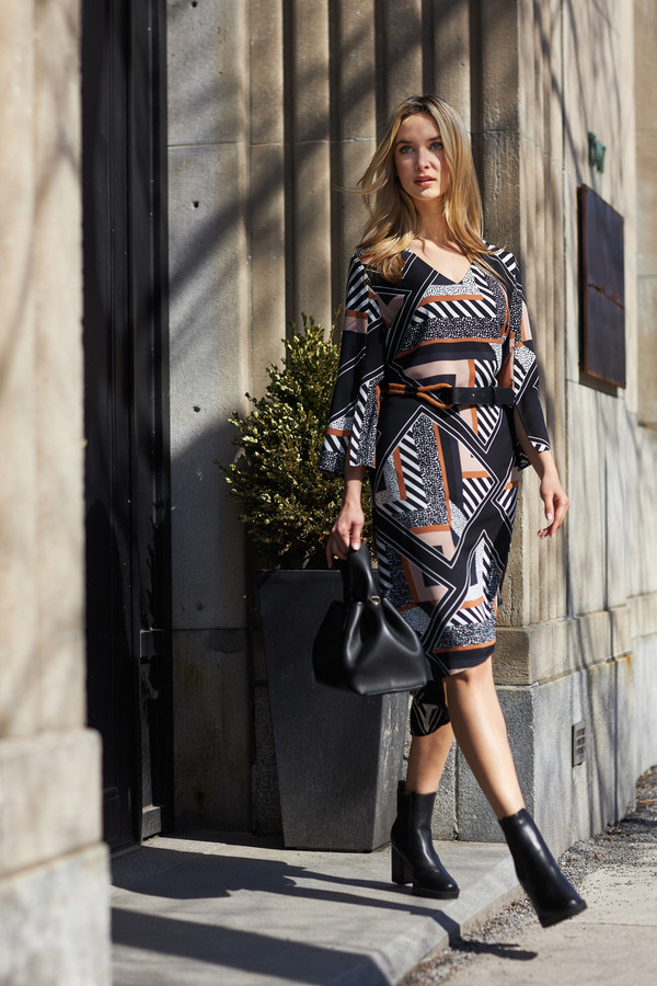 Joseph Ribkoff Geo Print Wrap Dress Style 213391. Black/Multi