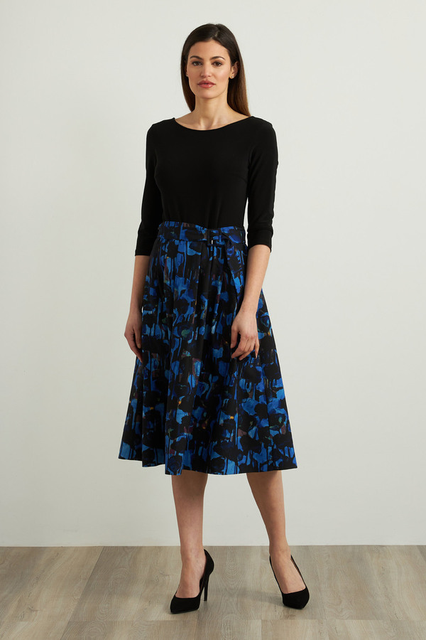 Joseph Ribkoff Two-Tone Dress Style 213406. Black/Royal Sapphire